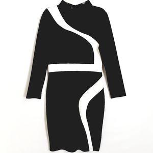 NWOT HOMEYEE Black/White  LS Bodycon Midi Dress